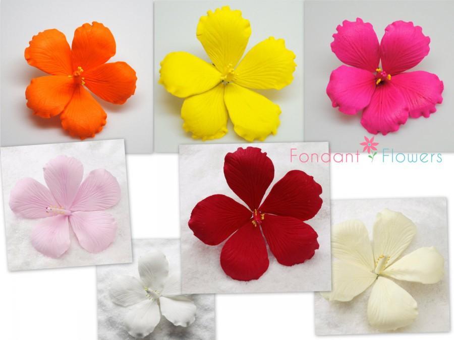 Set Of 3 35 Hibiscus Gumpaste Buds Flower Blossoms Sugar Fondant
