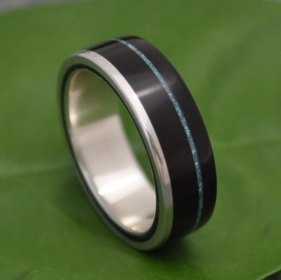 Hochzeit - Turquoise Wood Ring - Un Lado Asi - coyol seed and silver wood wedding band, mens wood wedding ring, women's wooden band