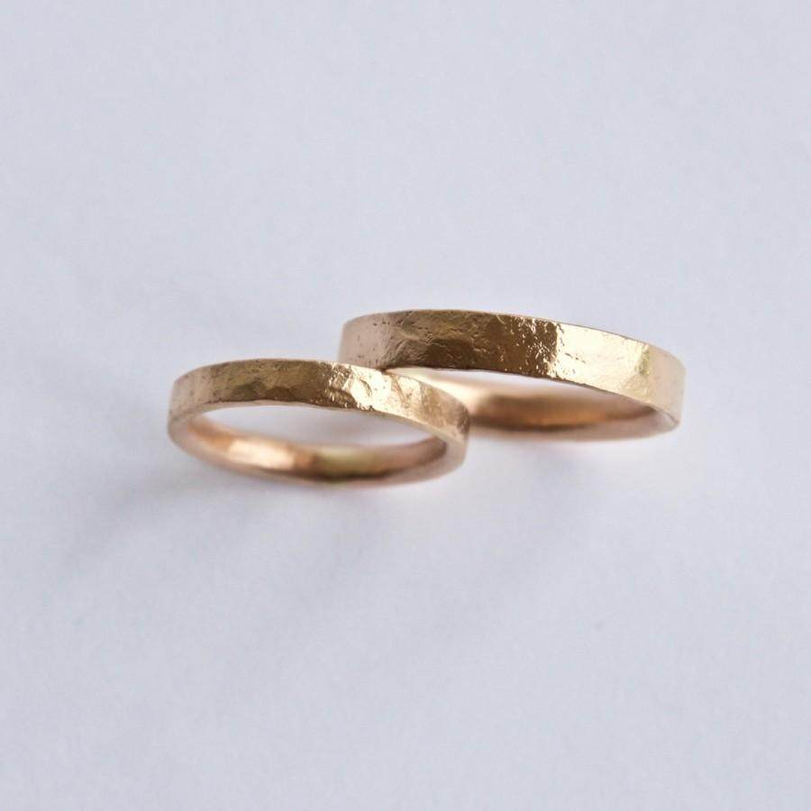 Rose Gold Wedding Ring Set Organic Texture Wedding Rings