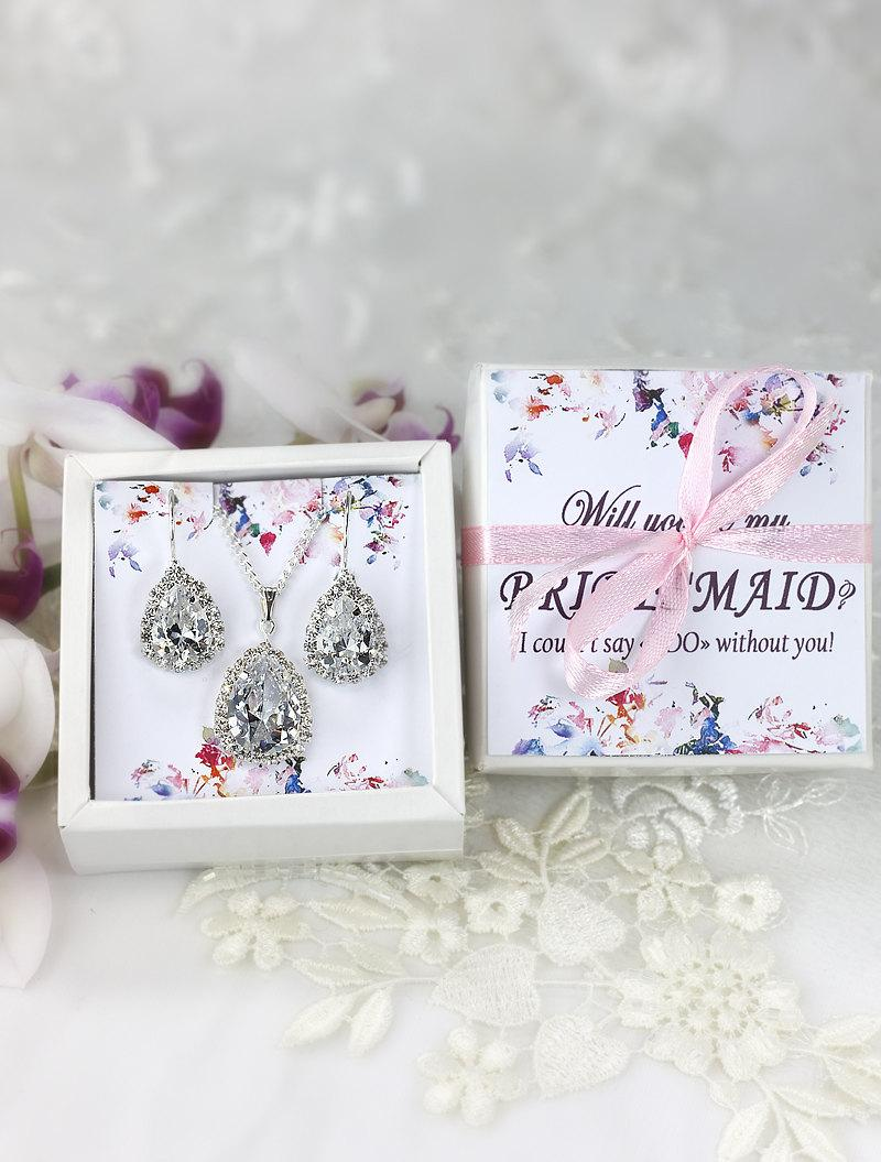 Mariage - Bridesmaid jewelry set Bridesmaid Earrings Bridesmaid gift Crystal earrings Be my bridesmaid card Bridesmaids Earrings Bridal Party Gift