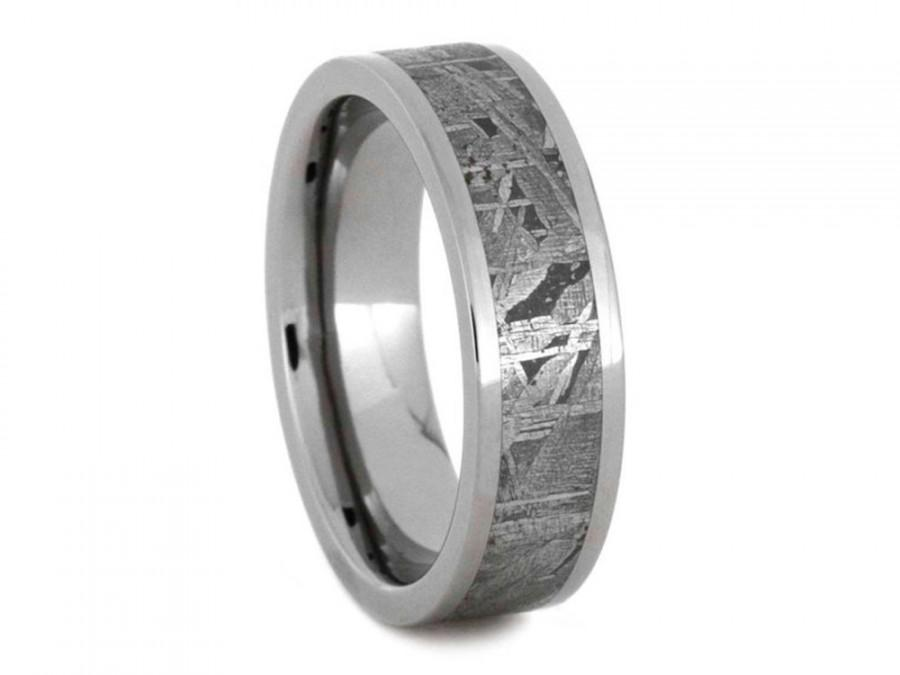 Mariage - Meteorite Wedding Ring For Him Or Her, Anniversary Gift, Titanium Band, Signature Style