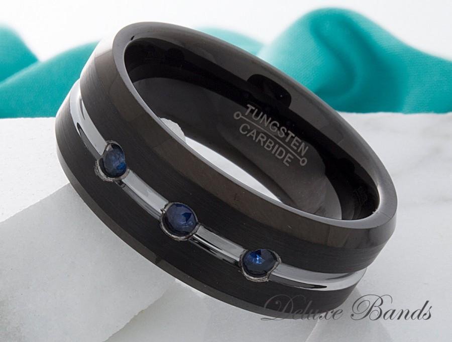 Mariage - Sapphire Tungsten Ring Black Tungsten Band Anniversary Ring Mens Sapphire Wedding Band Promise Ring Brushed 8mm Beveled Edges Comfort Fit