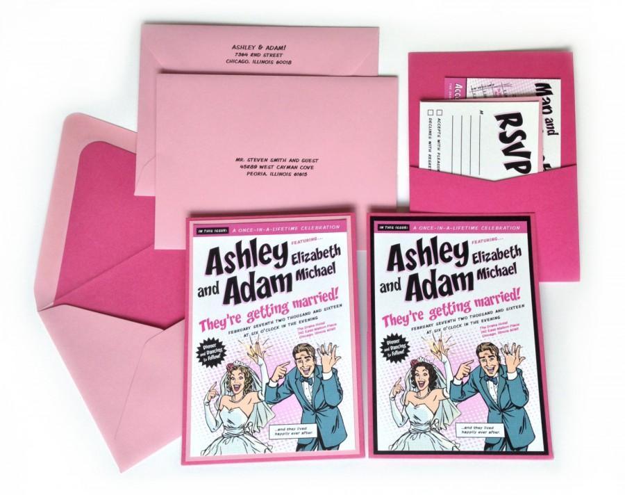زفاف - Custom Pink Comic Book Wedding Invitation Kit - Invitation, Pocket, Inserts, Addressed Envelopes