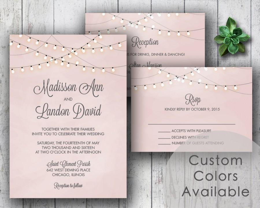 Свадьба - Printable Wedding Invitation PDF Set or Pick & Choose - String Lights Rustic Invite (Blush Pink OR Choose Your Colors!)