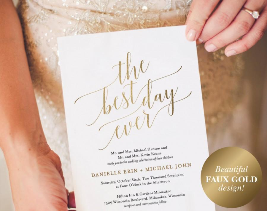 زفاف - Wedding Invitation, Wedding Invitation Template, Best Day Ever Wedding Invite, Faux Gold Wedding Invitation, Instant Download #BPB324_1