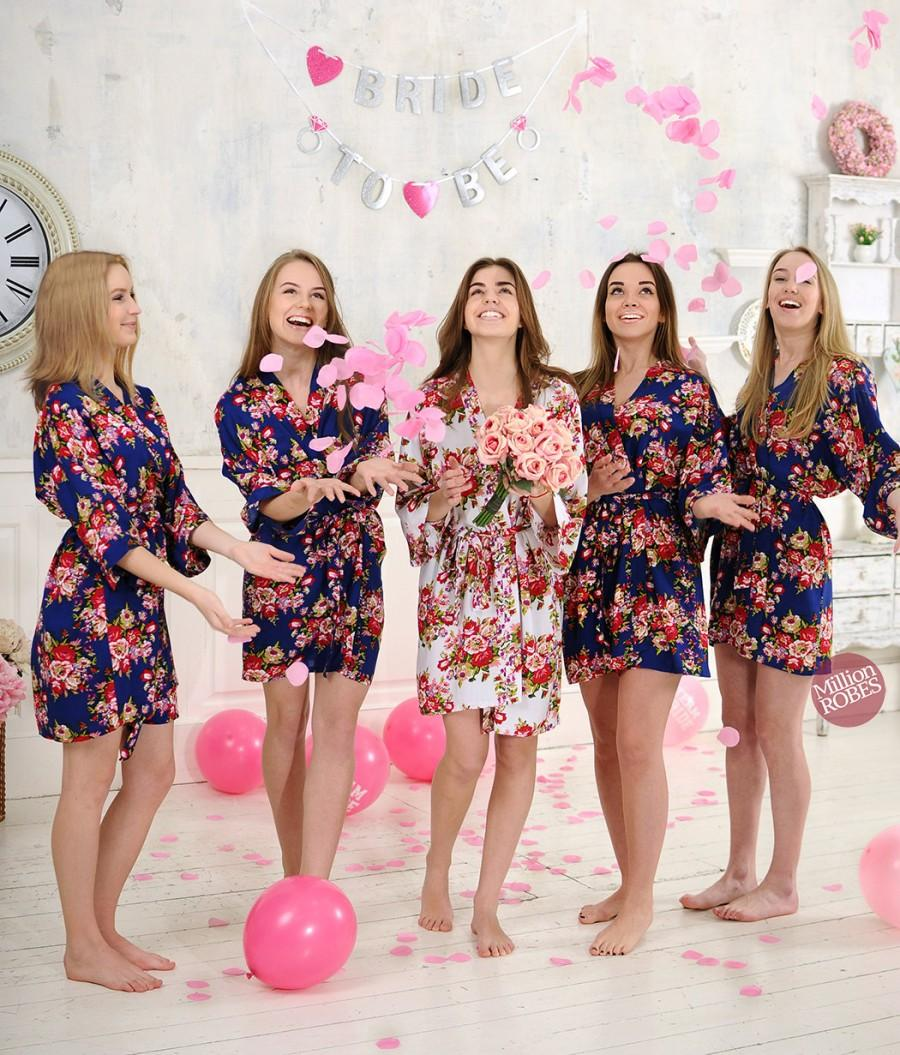SALE! Bridesmaid Robes, Set Of Floral Cotton Robes, Bridal Party ...