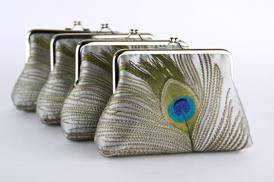 زفاف - EllenVintage Silk Peacock Purse In Silver