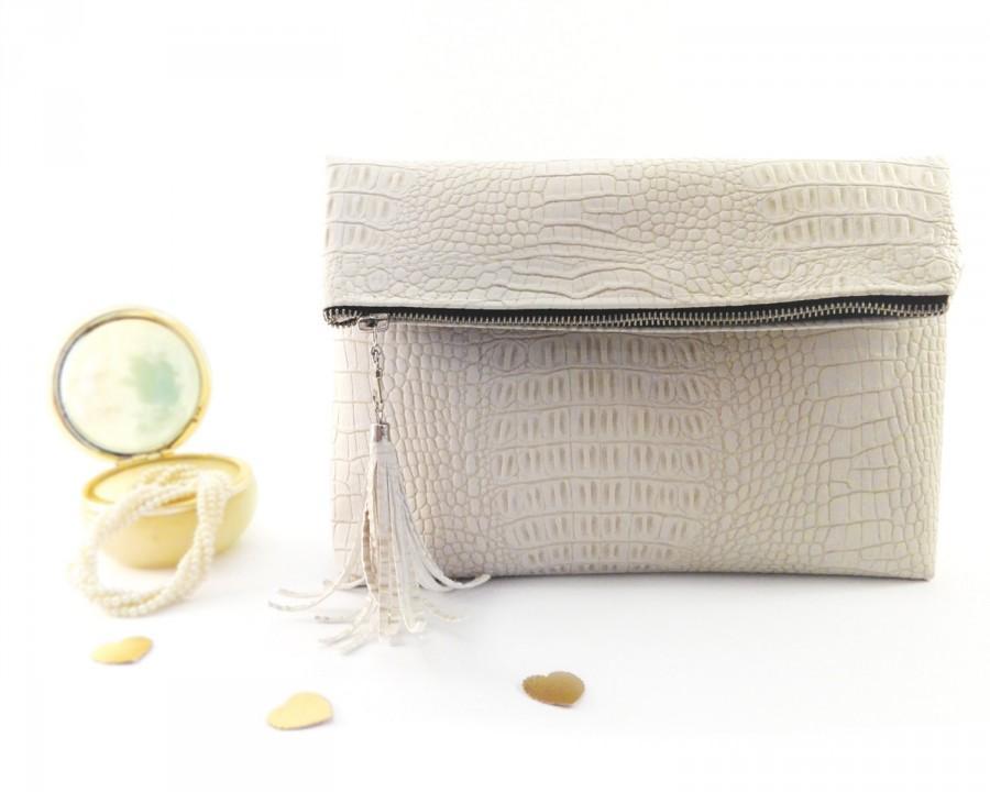 Wedding - Bridal clutch bag Ivory wedding purse bag Bridesmaid clutch Leather bridal bag Ivory wedding bag Leather wedding purse Leather bridal purse