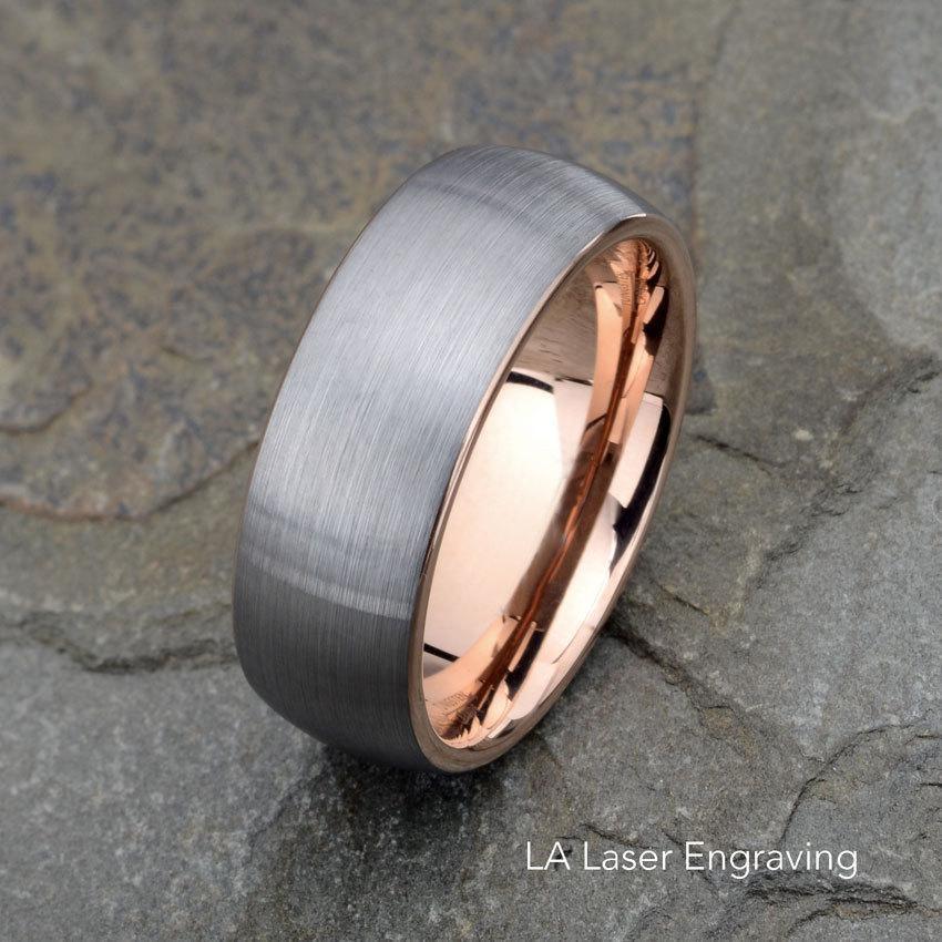 Свадьба - Tungsten Wedding Band, Brushed, Domed Rose Tungsten Ring, 8mm Wedding Band, Mens Wedding Ring, Laser Engraved Mens Ring, Anniversary Rin