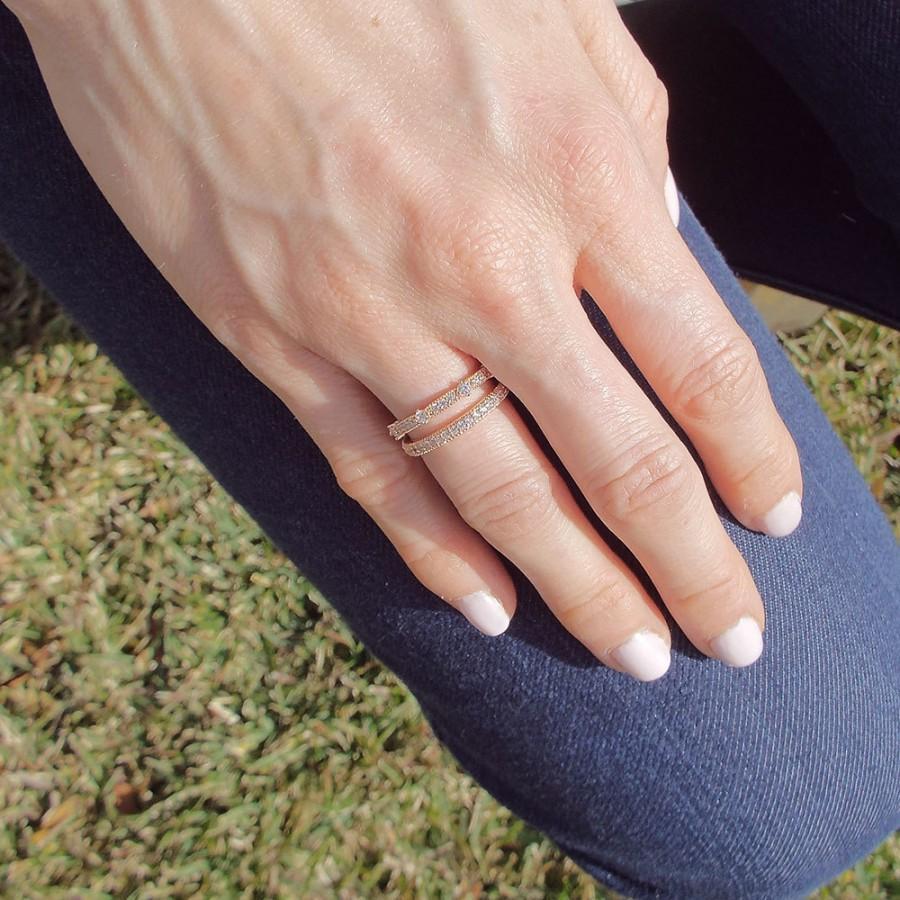 Свадьба - Rose Gold CZ Diamond Milgrain half eternity band rose gold plated ring Wedding band stacking ring