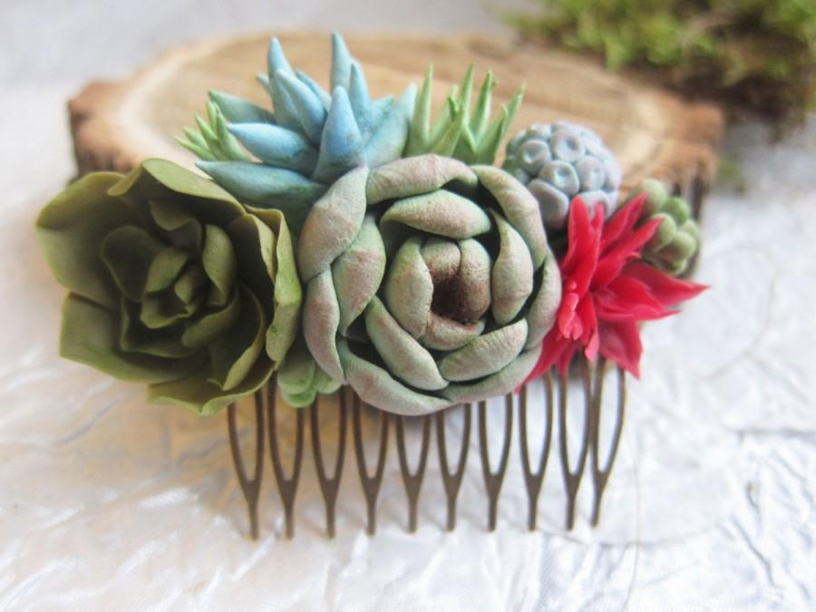 Свадьба - Succulent hair comb, wedding succulent, clay succulent, pendant succulent, bridal succulent, polymer clay, succulent hair accessory