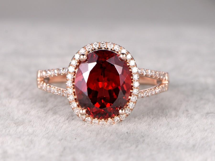 زفاف - Big 8x10mm Natural Garnet Engagement ring,Diamond wedding band,14K Rose Gold,split shank,Oval stone Promise Ring,Bridal Ring,Stacking Ring