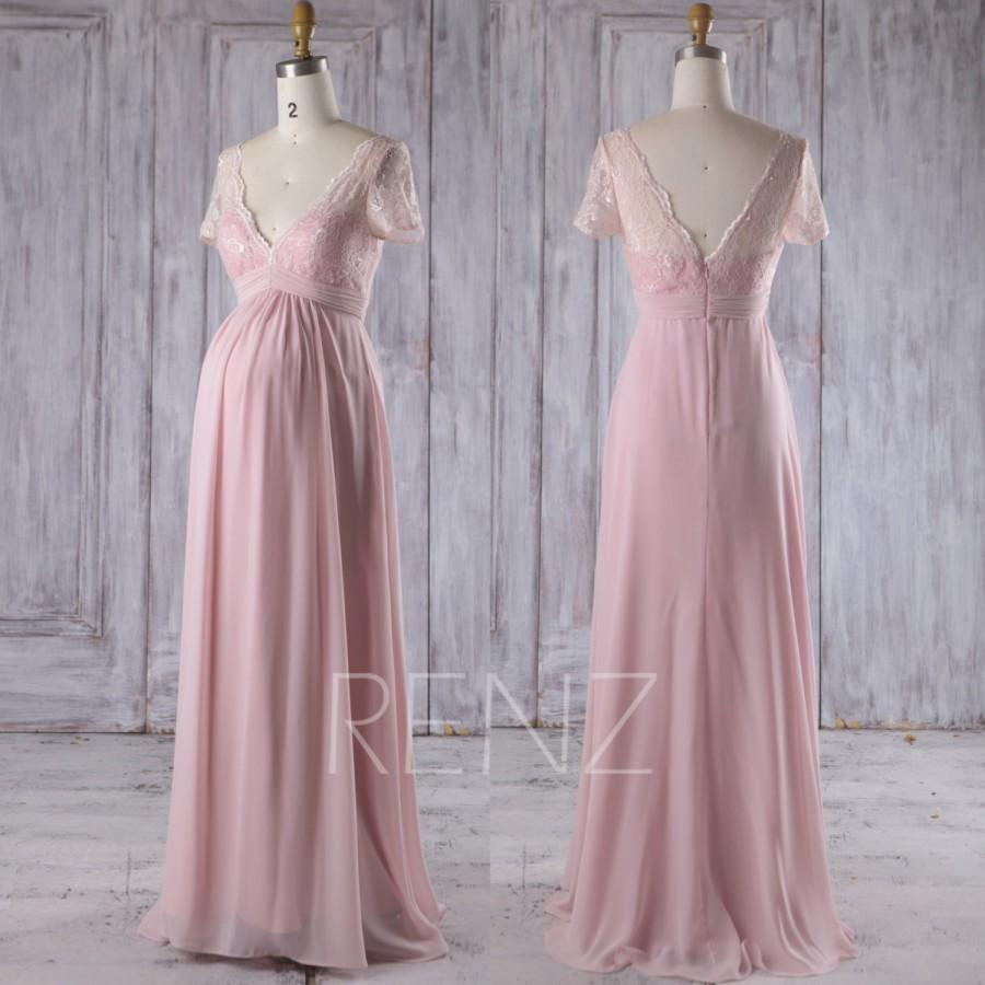 656938ddabda 2017 Blush Chiffon Maternity Bridesmaid Dress, Lace V Neck Wedding Dress,  Short Sleeves Empire Waist Prom Dress Floor Length (HM393)