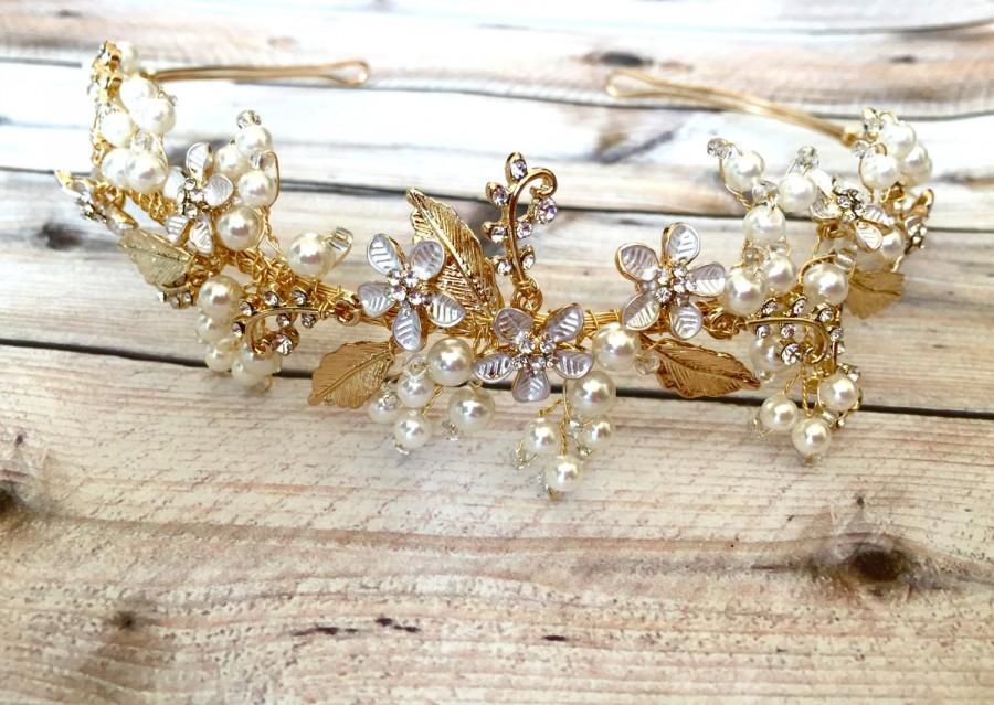 Hochzeit - Bridal hair piece, bridal hair vine, hair vine wedding, vintage hair vine, beaded hair vine, beaded hair wreath, gold hair piece, hairpiece