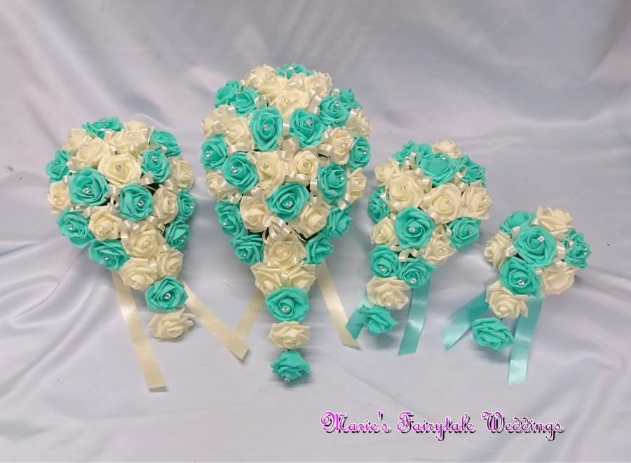 Свадьба - Artificial Wedding Flowers Brides, Bridesmaid, Flower Girl Teardrop Bouquet in Aquamarine/Tiffany Blue Foam Roses with diamante
