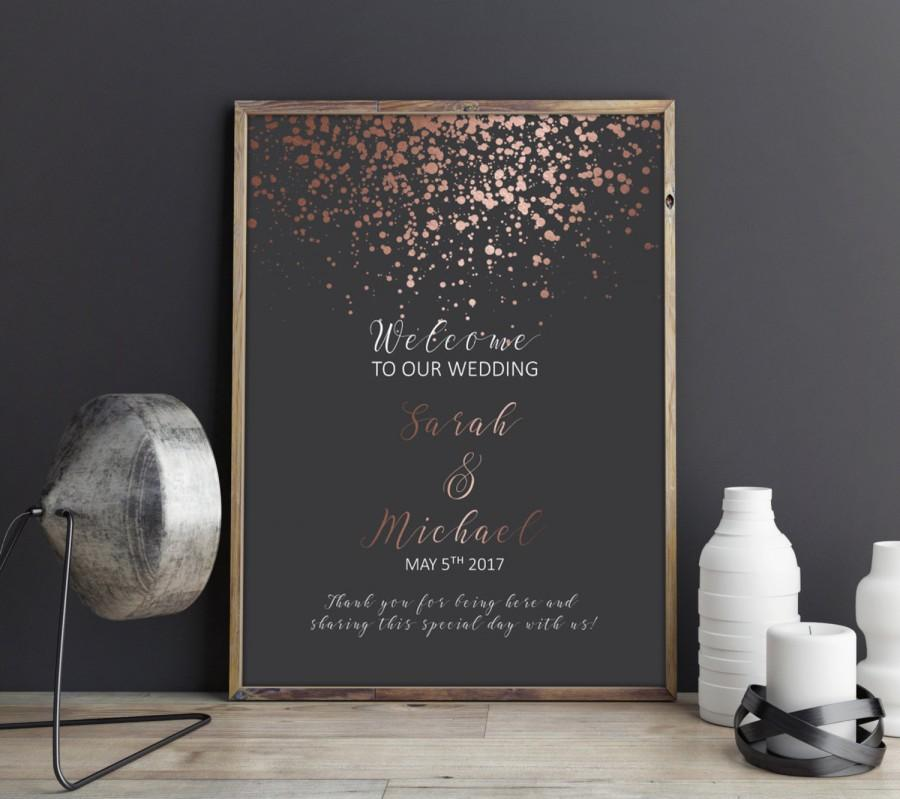 Custom Wedding Signs Rose Gold Wedding Sign Welcome Wedding Sign
