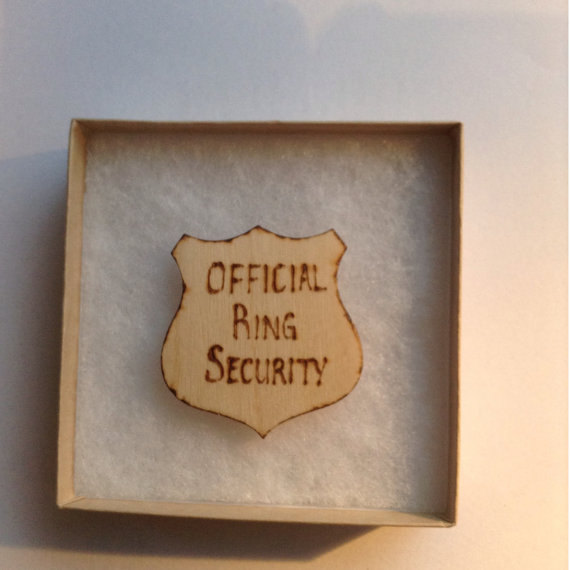 Hochzeit - Official Ring Security Badge, Wedding Accessory, Wedding Badge, Ring Bearer, Wooden Badge