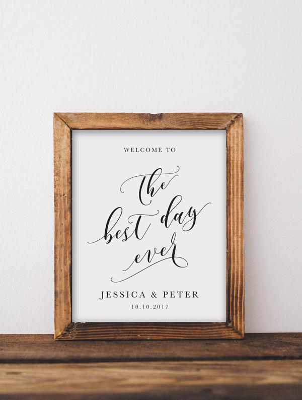 Mariage - Welcome To The Best Day Ever Wedding Sign Printable