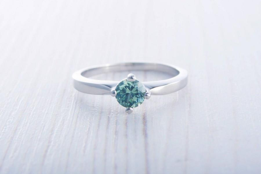 Hochzeit - Green Sapphire solitaire ring available in Titanium or white gold - engagement ring - wedding ring
