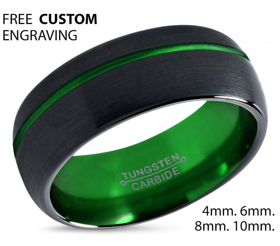 Wedding - Tungsten Ring Mens Black Green Wedding Band Tungsten Ring Tungsten Carbide 8mm Tungsten Man Wedding Male Women Anniversary Matching