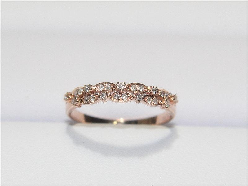 Unique Wedding Band14k Rose Gold Diamond Ring Half