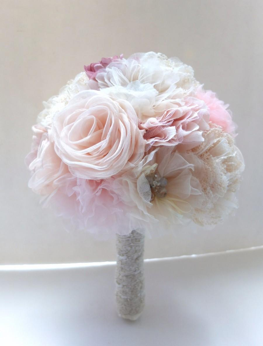 Shabby Chic Fabric Flower Bouquet Blush Pink Ivory Fabric Flower