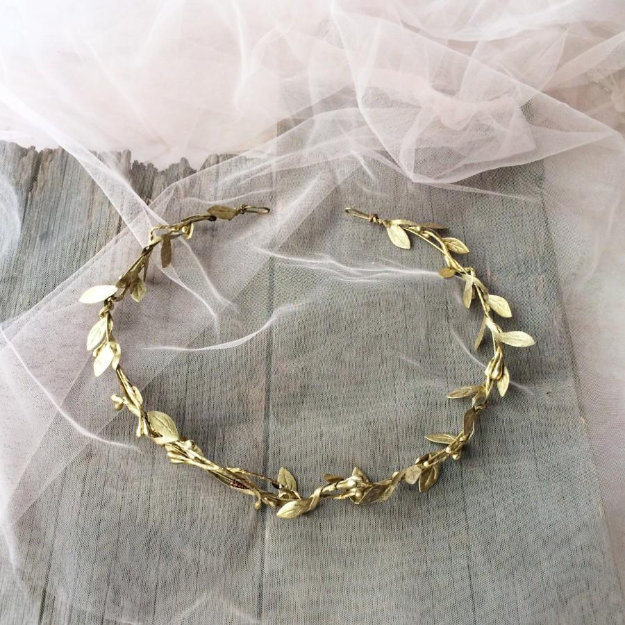 Mariage - Gold leaf crown, Gold wedding crown,  floral crown, rustic crown, rustic wreath, gold leaves halo, gold leaf wereath, gold leaves geadpiece,