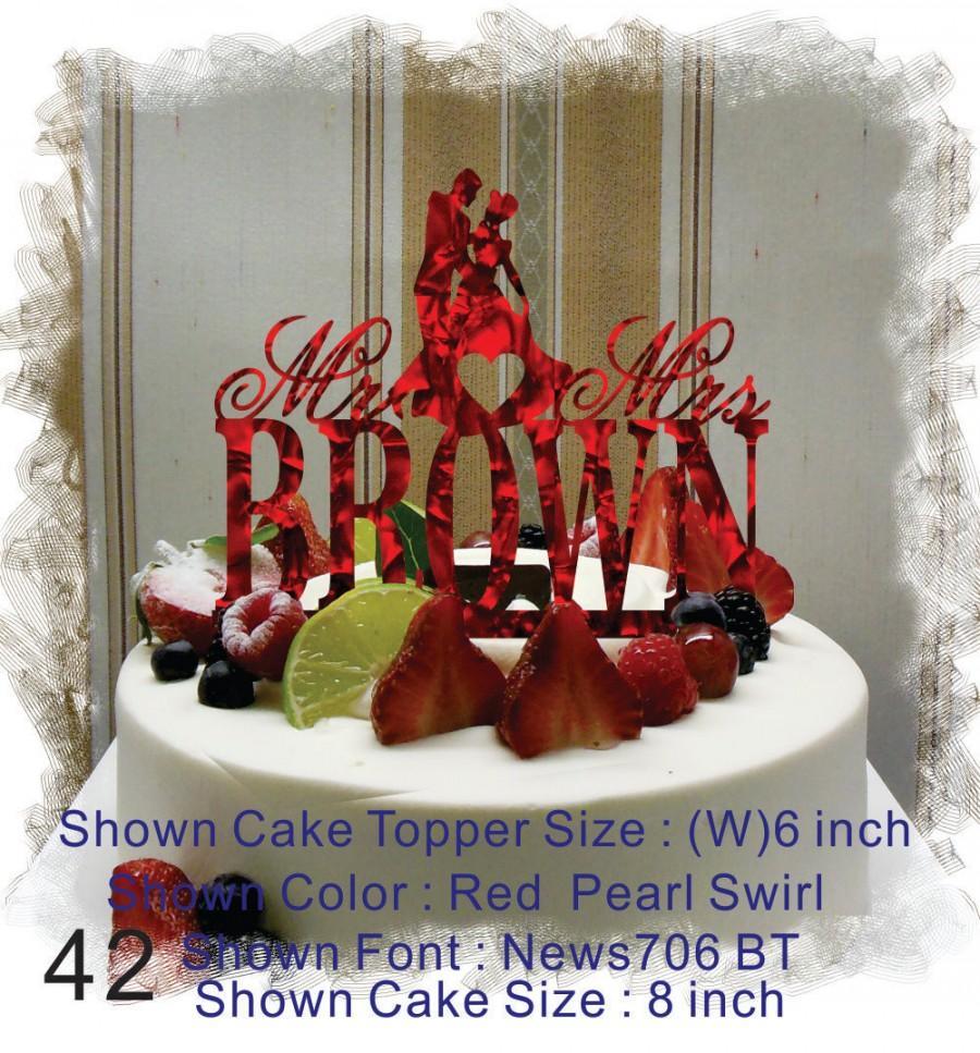 Свадьба - Silhouette  Cake Topper , Monogram Cake Topper Mr and Mrs  With Your Last (Family)Name  - Handmade Custom Wedding Cake Topper