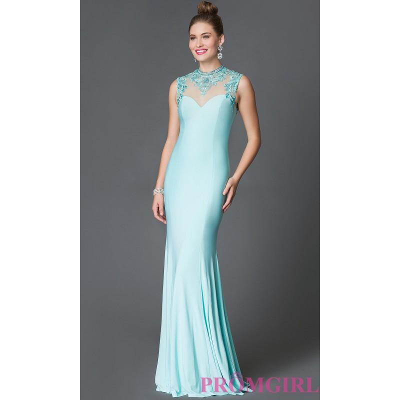 Wedding - High Neck Xcite Sleeveless Floor Length Prom Dress with Lace Embellished Sheer Back - Discount Evening Dresses