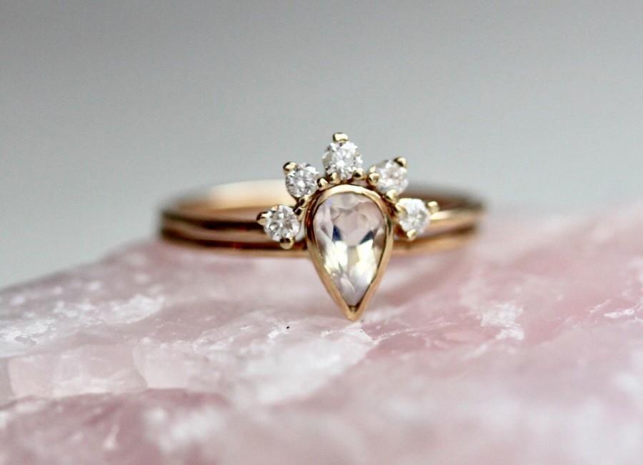14k Moonstone Wedding Set Moonstone Engagement Ring Set Moonstone
