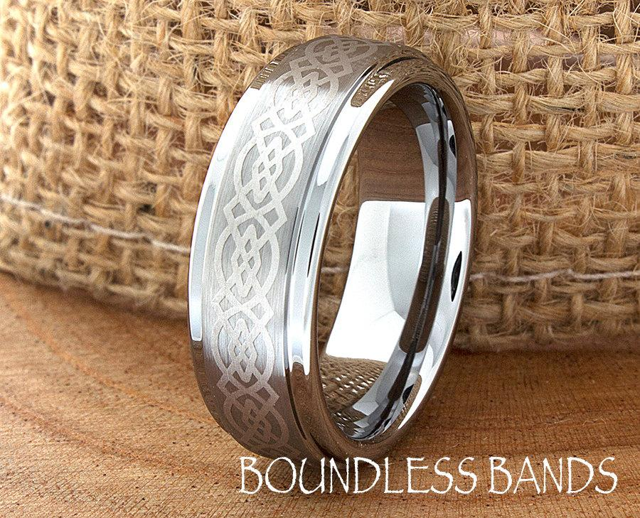 Mariage - Celtic Knot Tungsten Wedding Ring Mens 7mm Customized Laser Engraved Band Mans Women Anniversary Ring New Design Classic Modern His Hers New