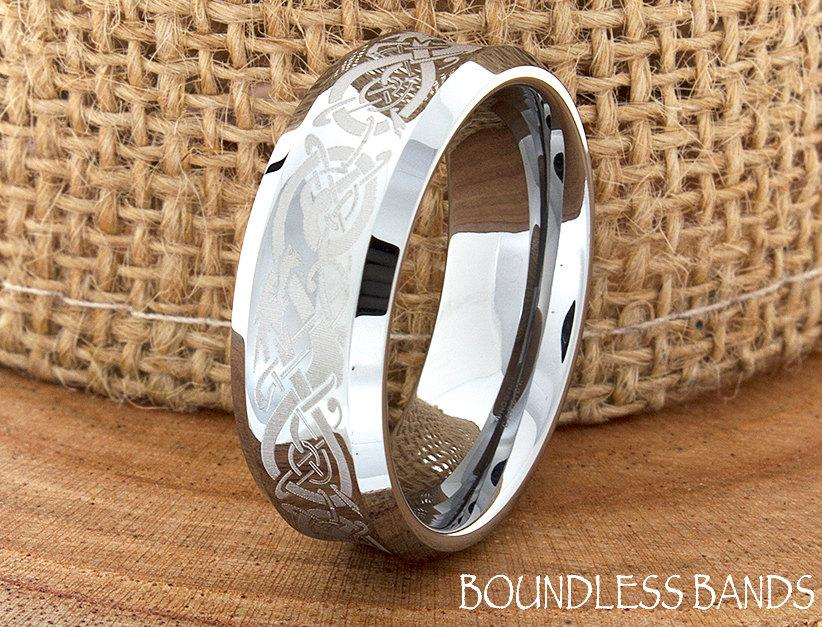 Mariage - Celtic Dragon Wedding Band Concave High Polished Customized Tungsten Band Any Design Laser Engraved Ring Mens Tungsten Ring Anniversary Ring
