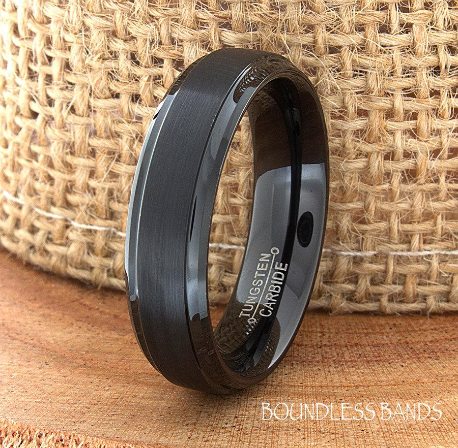 Hochzeit - BlackTungsten Wedding Band Ring Stepped Edges Customized Tungsten Band Any Design Laser Engraved Ring Mens Tungsten Ring Anniversary Ring
