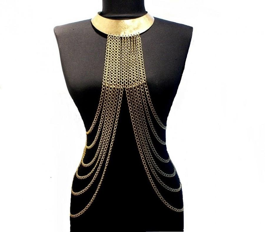Wedding - body chain necklace, gold body chain necklace, gold harness, body chain, harness chain necklace - $86.00 USD