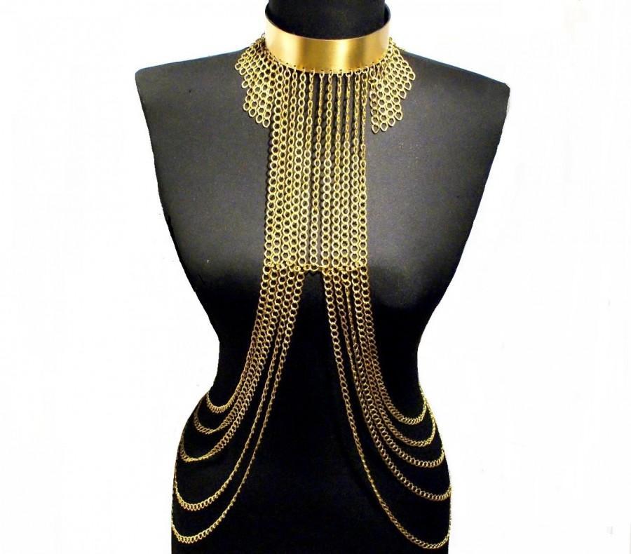 Wedding - body chain, body chain necklace, body chain jewelry, body jewelry, body lewelery, gold body chain - $86.00 USD