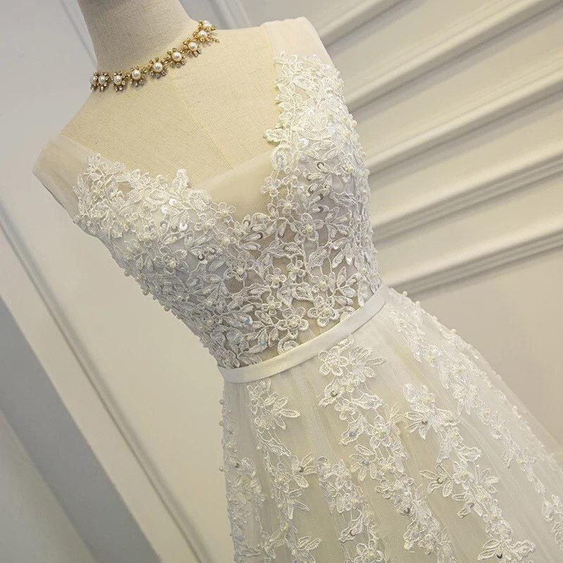 Mariage - Sale - stunning Elegant White pearl beaded lace organza Wedding gown / Formal gown / Bridemaid dress / lace dress