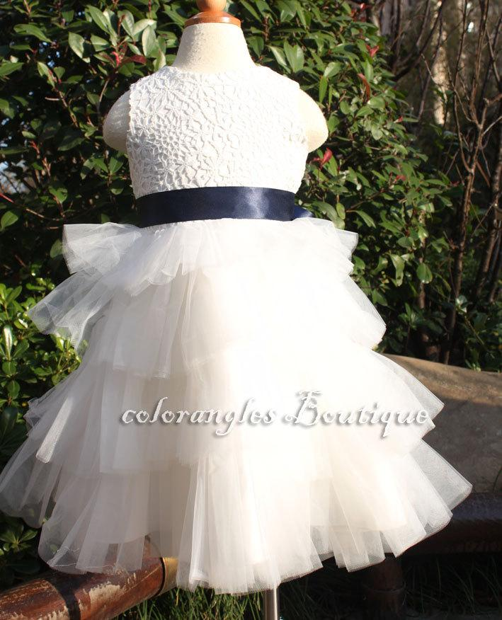 Mariage - Off white Navy blue Flower girl dress lace dress baby toddler birthday wedding dress 1t- 8t