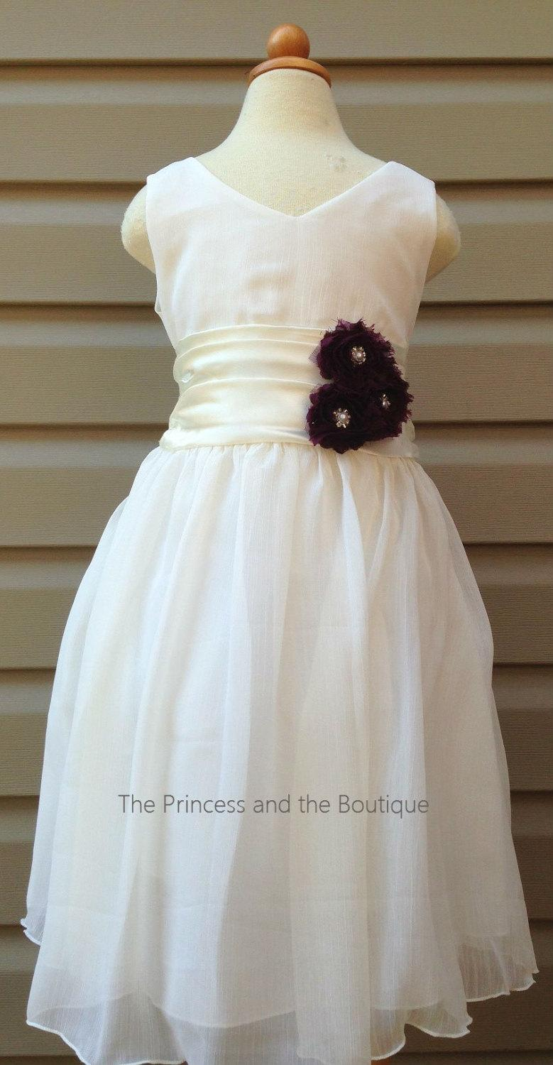 Many Colors Available Ivory Chiffon Flower Girl Dresseggplant