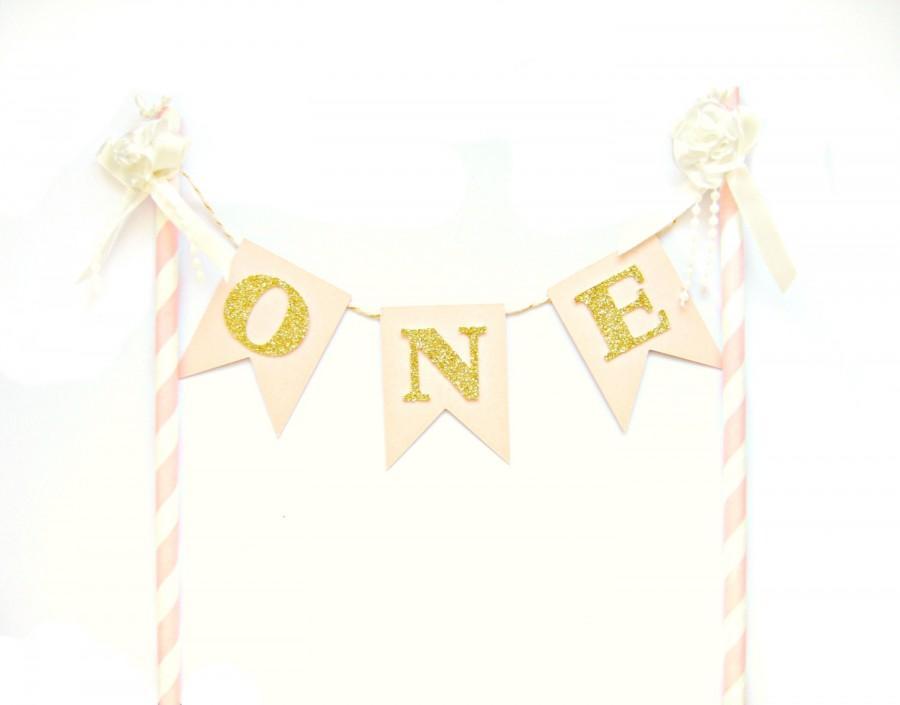 Pink White Gold Birthday Cake Topper First Birthday Cake Topper