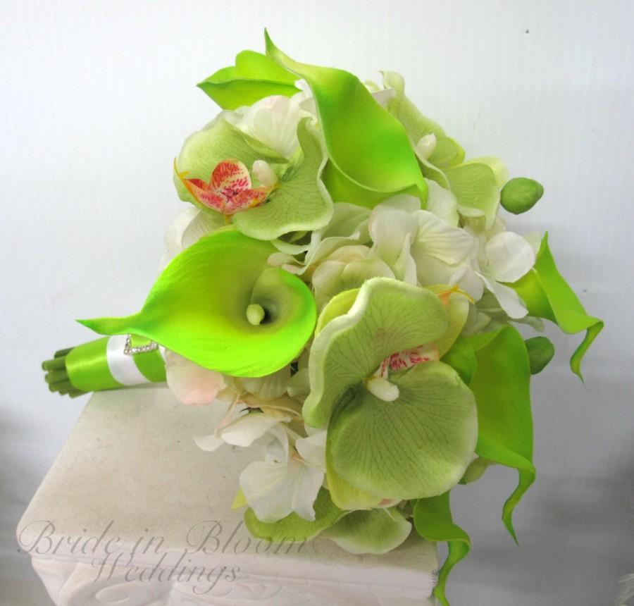 Свадьба - Wedding Bouquet, Lime green calla lily orchid white Silk bridal bouquet
