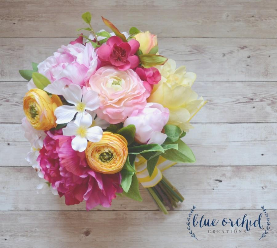 Mariage - Pink and Yellow Wedding Bouquet - Spring Wedding, Silk Wedding Bouquet, Pink Bouquet, Colorful Bouquet, Bright Bouquet, Yellow Bouquet