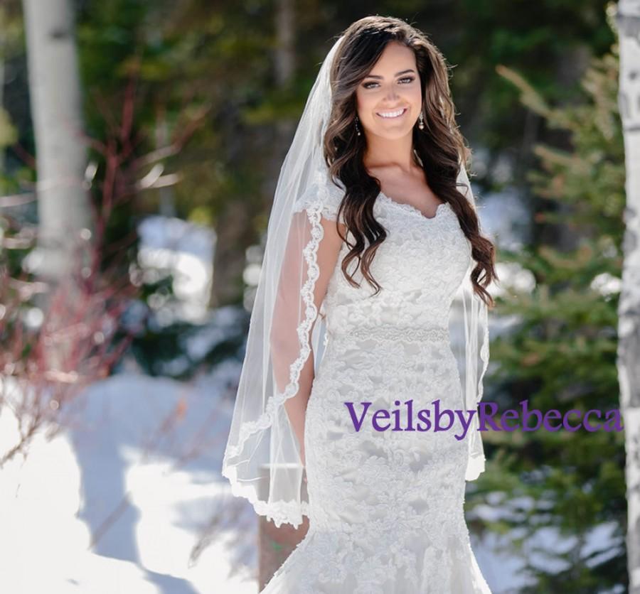 Свадьба - 1 tier Fingertip Lace Veil- Elbow Lace Veil-Hip Lace Veil-Short Lace Veil-1 tier Lace Fingertip Wedding Veil-Slim Embroidery Lace Veil V635