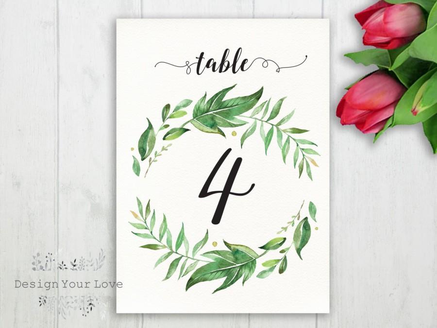 wedding table numbers printable greenery table numbers garden floral