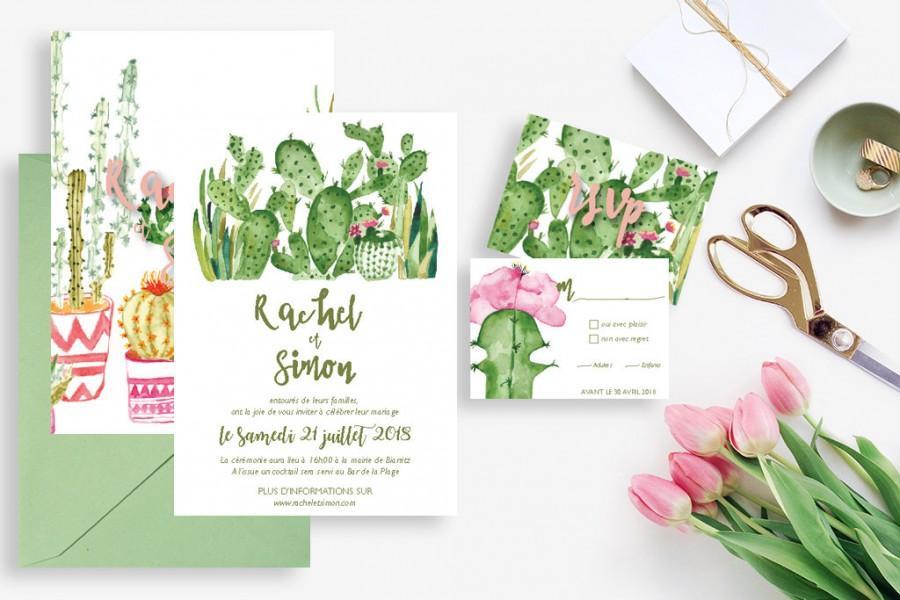 printable wedding invitation with rsvp card cactus wedding