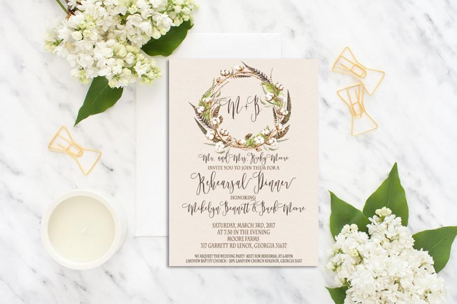 Mariage - Printable Rehearsal Dinner Invitation Suite /Rehearsal Dinner Invite Set/ Rustic Wedding Invitation /Cotton Boll Feather Rehearsal Invite