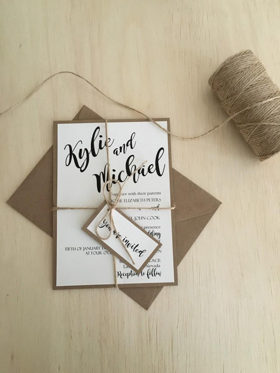 Rustic Wedding Invitation, Wedding Invitation Kit, Kraft Wedding ...