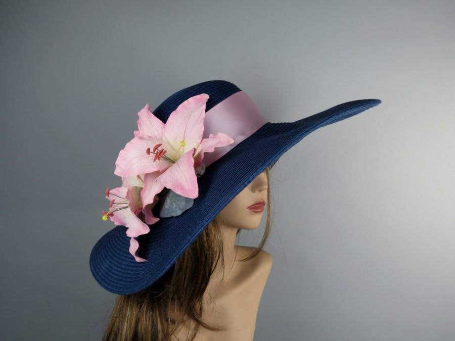 Свадьба - Summer Navy Blue Hat Real Touch Lily Party Head Piece Kentucky Derby Hat  Wedding Accessory  Cocktail Hat