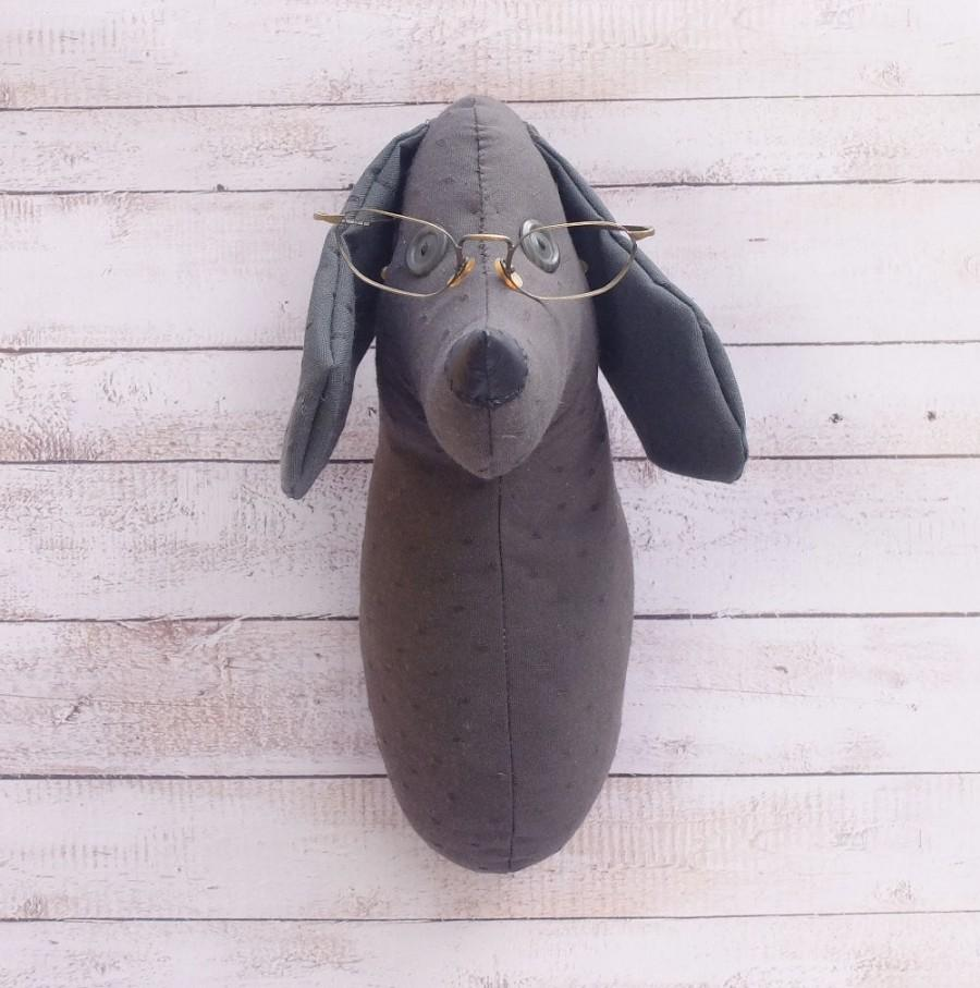 Boda - Bespectacled Dog Blinkered Dog Soft sculpture For home Kids room Animal dog lovers Wall Decor Fauxidermy Faux Taxidermy Graphite