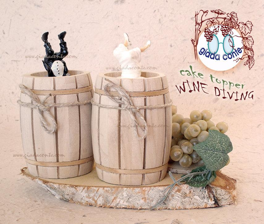 Свадьба - Cake topper cake decoration or table WINE DIVING-spouses for autumn themed wedding & wine