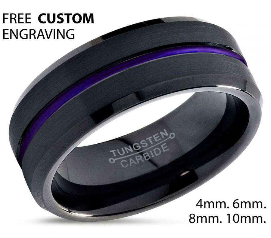 Hochzeit - Tungsten Ring Mens Purple Wedding Band Tungsten Ring Tungsten Carbide 8mm Tungsten Ring Man Wedding Band Male Women Anniversary Matching